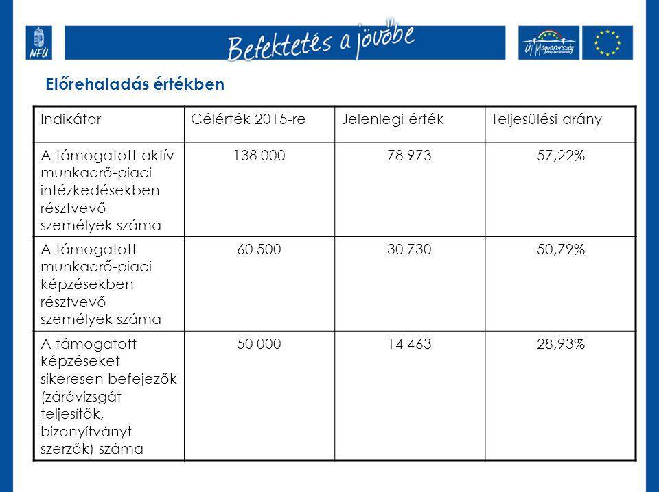 Előrehaladás értékben IndikátorCélérték 2015-reJelenlegi értékTeljesülési arány A támogatott aktív munkaerő-piaci intézkedésekben résztvevő személyek száma 138 00078 97357,22% A támogatott munkaerő-piaci képzésekben résztvevő személyek száma 60 50030 73050,79% A támogatott képzéseket sikeresen befejezők (záróvizsgát teljesítők, bizonyítványt szerzők) száma 50 00014 46328,93%
