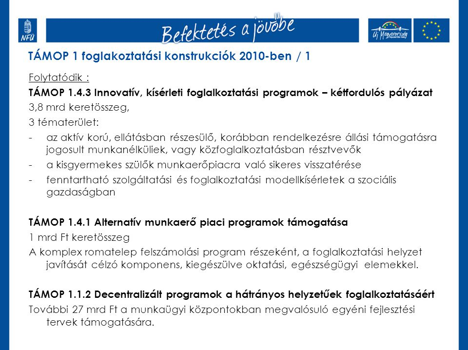 4.A közcélú foglalkoztatás hatékonyságának javítása / 4.