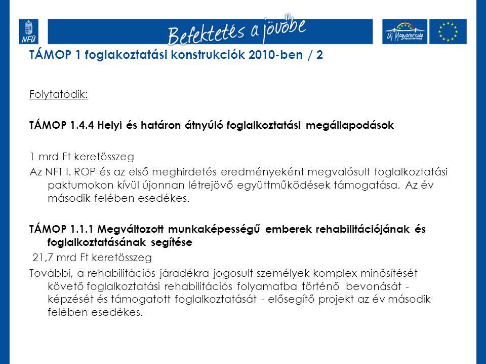 Folytatódik: TÁMOP 1.4.4 Helyi és határon átnyúló foglalkoztatási megállapodások 1 mrd Ft keretösszeg Az NFT I.