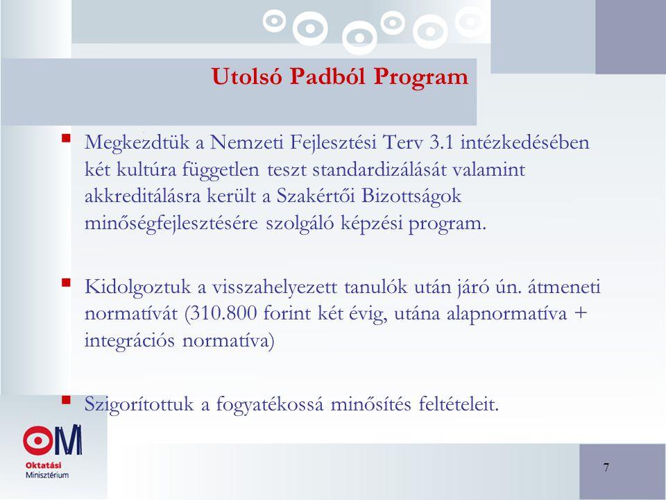 7 Utolsó Padból Program  Megkezdtük a Nemzeti Fejlesztési Terv 3.1 intézkedésében két kultúra független teszt standardizálását valamint akkreditálásra került a Szakértői Bizottságok minőségfejlesztésére szolgáló képzési program.