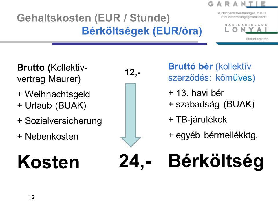 12 Gehaltskosten (EUR / Stunde) Bérköltségek (EUR/óra) Brutto (Kollektiv- vertrag Maurer) + Weihnachtsgeld + Urlaub (BUAK) + Sozialversicherung + Nebe