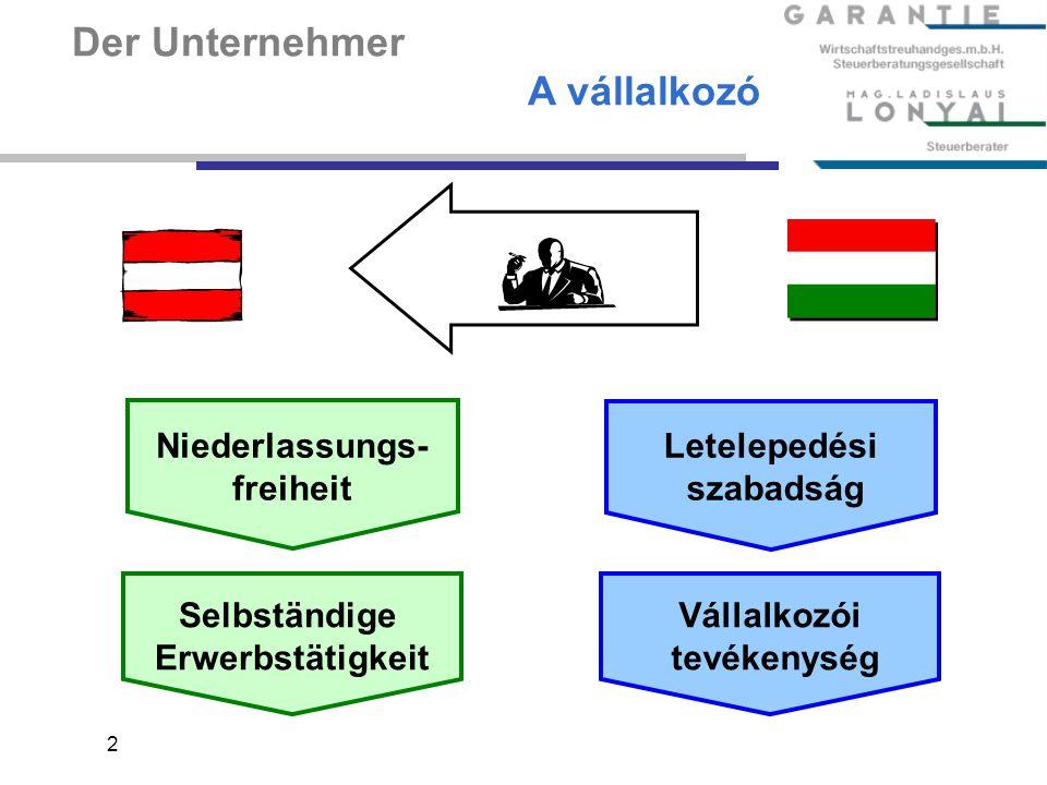 2 Der Unternehmer A vállalkozó Niederlassungs- freiheit Selbständige Erwerbstätigkeit Letelepedési szabadság Vállalkozói tevékenység