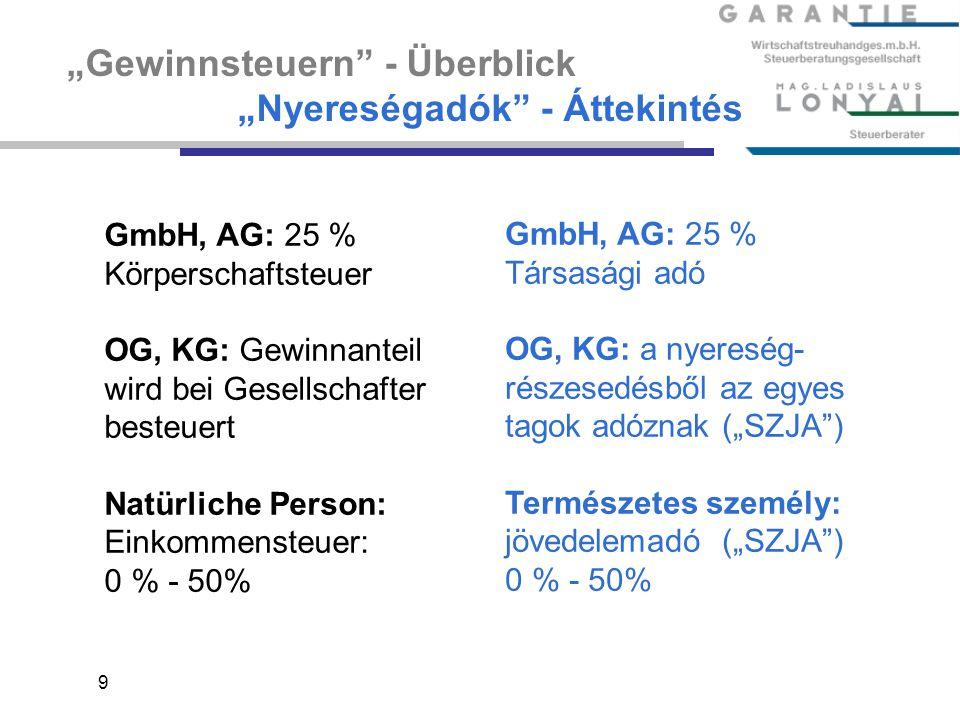 """9 """"Gewinnsteuern"""" - Überblick """"Nyereségadók"""" - Áttekintés GmbH, AG: 25 % Körperschaftsteuer OG, KG: Gewinnanteil wird bei Gesellschafter besteuert Nat"""