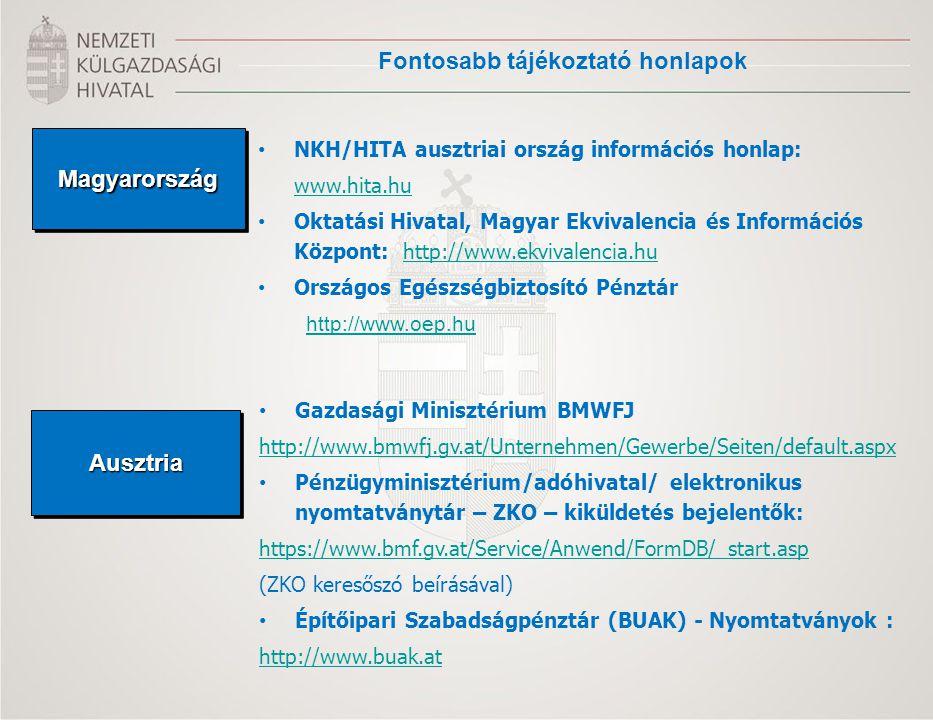 Fontosabb tájékoztató honlapok MagyarországMagyarország NKH/HITA ausztriai ország információs honlap: www.hita.hu Oktatási Hivatal, Magyar Ekvivalenci