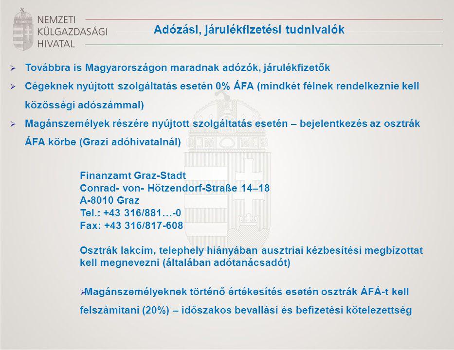  Továbbra is Magyarországon maradnak adózók, járulékfizetők  Cégeknek nyújtott szolgáltatás esetén 0% ÁFA (mindkét félnek rendelkeznie kell közösség