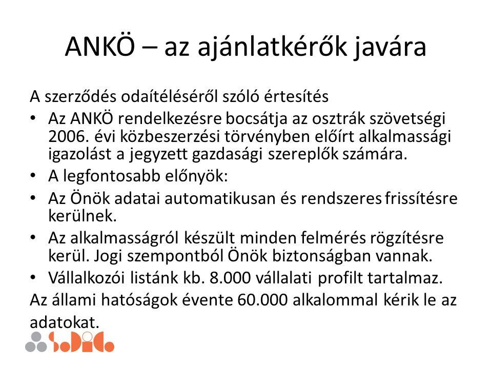ANKÖ – az ajánlatkérők javára A szerződés odaítéléséről szóló értesítés Az ANKÖ rendelkezésre bocsátja az osztrák szövetségi 2006. évi közbeszerzési t