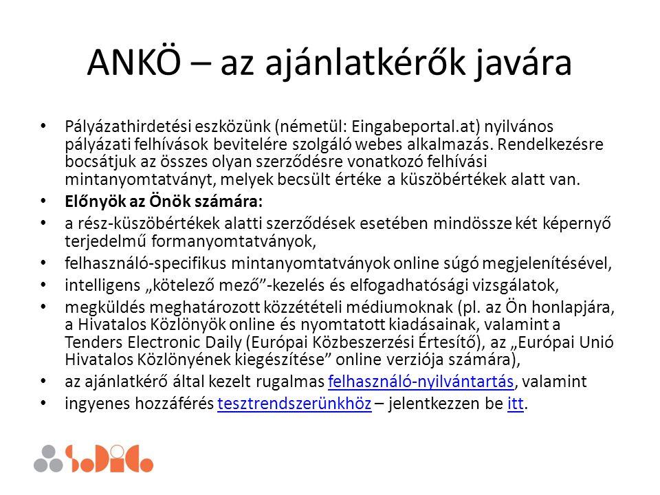 ANKÖ – az ajánlatkérők javára Pályázathirdetési eszközünk (németül: Eingabeportal.at) nyilvános pályázati felhívások bevitelére szolgáló webes alkalma