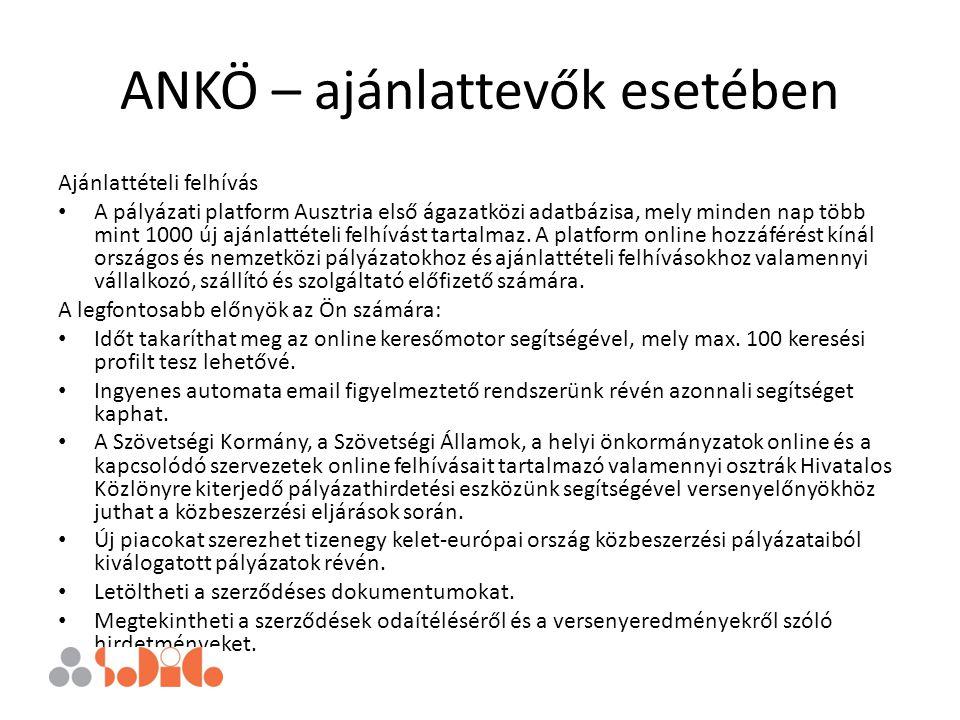 ANKÖ – ajánlattevők esetében Ajánlattételi felhívás A pályázati platform Ausztria első ágazatközi adatbázisa, mely minden nap több mint 1000 új ajánla