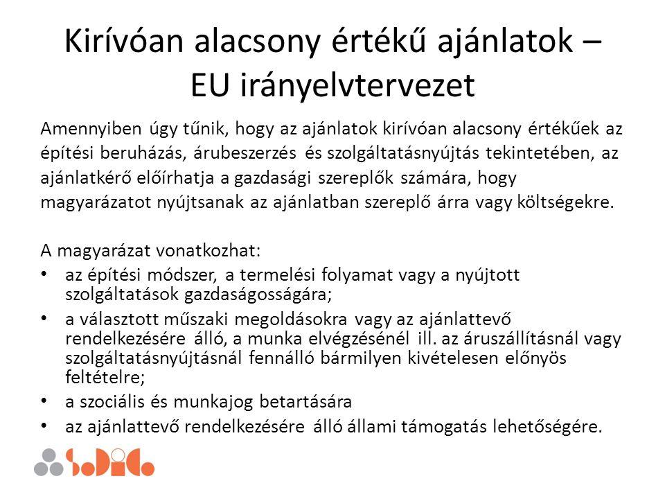 Kirívóan alacsony értékű ajánlatok – EU irányelvtervezet Amennyiben úgy tűnik, hogy az ajánlatok kirívóan alacsony értékűek az építési beruházás, árub