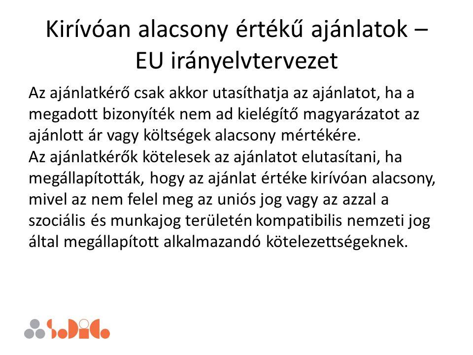 Kirívóan alacsony értékű ajánlatok – EU irányelvtervezet Az ajánlatkérő csak akkor utasíthatja az ajánlatot, ha a megadott bizonyíték nem ad kielégítő