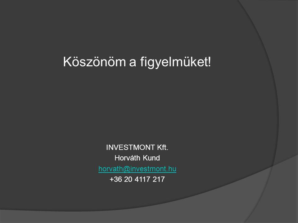 Köszönöm a figyelmüket! INVESTMONT Kft. Horváth Kund horvath@investmont.hu +36 20 4117 217