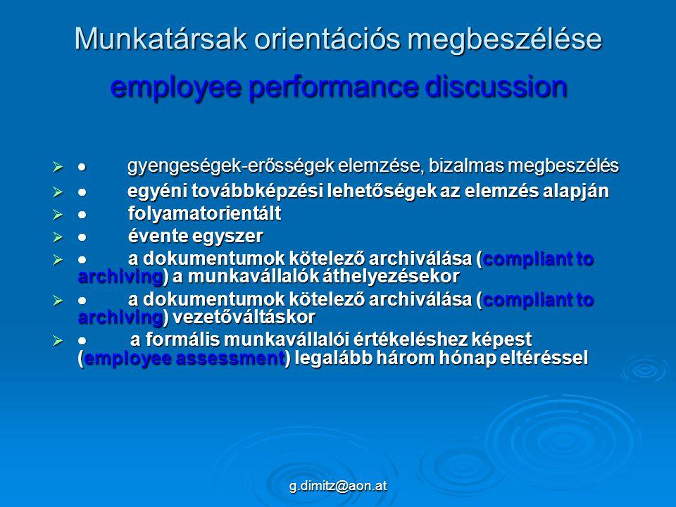 g.dimitz@aon.at Munkatársak orientációs megbeszélése employee performance discussion   gyengeségek-erősségek elemzése, bizalmas megbeszélés   egyéni továbbképzési lehetőségek az elemzés alapján   folyamatorientált   évente egyszer   a dokumentumok kötelező archiválása (compliant to archiving) a munkavállalók áthelyezésekor   a dokumentumok kötelező archiválása (compliant to archiving) vezetőváltáskor   a formális munkavállalói értékeléshez képest (employee assessment) legalább három hónap eltéréssel