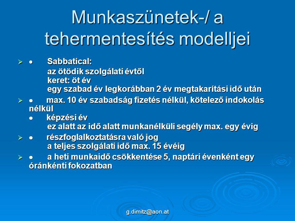 g.dimitz@aon.at Munkaszünetek-/ a tehermentesítés modelljei   Sabbatical: az ötödik szolgálati évtől keret: öt év egy szabad év legkorábban 2 év megtakarítási idő után   max.