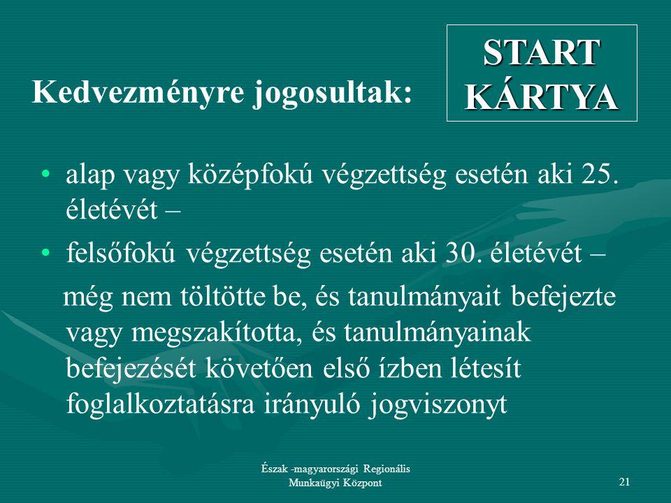 Észak -magyarországi Regionális Munkaügyi Központ21 Kedvezményre jogosultak: alap vagy középfokú végzettség esetén aki 25.