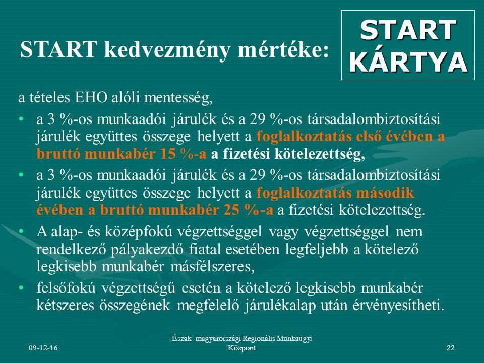 09-12-16 Észak -magyarországi Regionális Munkaügyi Központ22 START kedvezmény mértéke: a tételes EHO alóli mentesség, a 3 %-os munkaadói járulék és a 29 %-os társadalombiztosítási járulék együttes összege helyett a foglalkoztatás első évében a bruttó munkabér 15 %-a a fizetési kötelezettség, a 3 %-os munkaadói járulék és a 29 %-os társadalombiztosítási járulék együttes összege helyett a foglalkoztatás második évében a bruttó munkabér 25 %-a a fizetési kötelezettség.