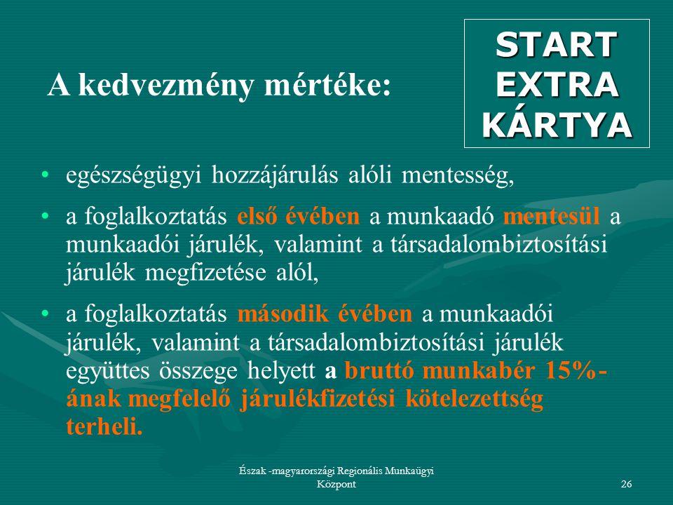 Észak -magyarországi Regionális Munkaügyi Központ26 A kedvezmény mértéke: egészségügyi hozzájárulás alóli mentesség, a foglalkoztatás első évében a munkaadó mentesül a munkaadói járulék, valamint a társadalombiztosítási járulék megfizetése alól, a foglalkoztatás második évében a munkaadói járulék, valamint a társadalombiztosítási járulék együttes összege helyett a bruttó munkabér 15%- ának megfelelő járulékfizetési kötelezettség terheli.