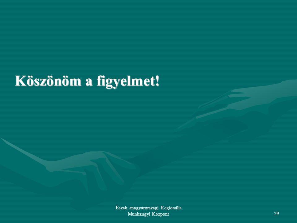 Észak -magyarországi Regionális Munkaügyi Központ29 Köszönöm a figyelmet!