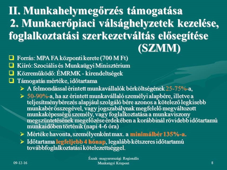 Észak -magyarországi Regionális Munkaügyi Központ9 II.