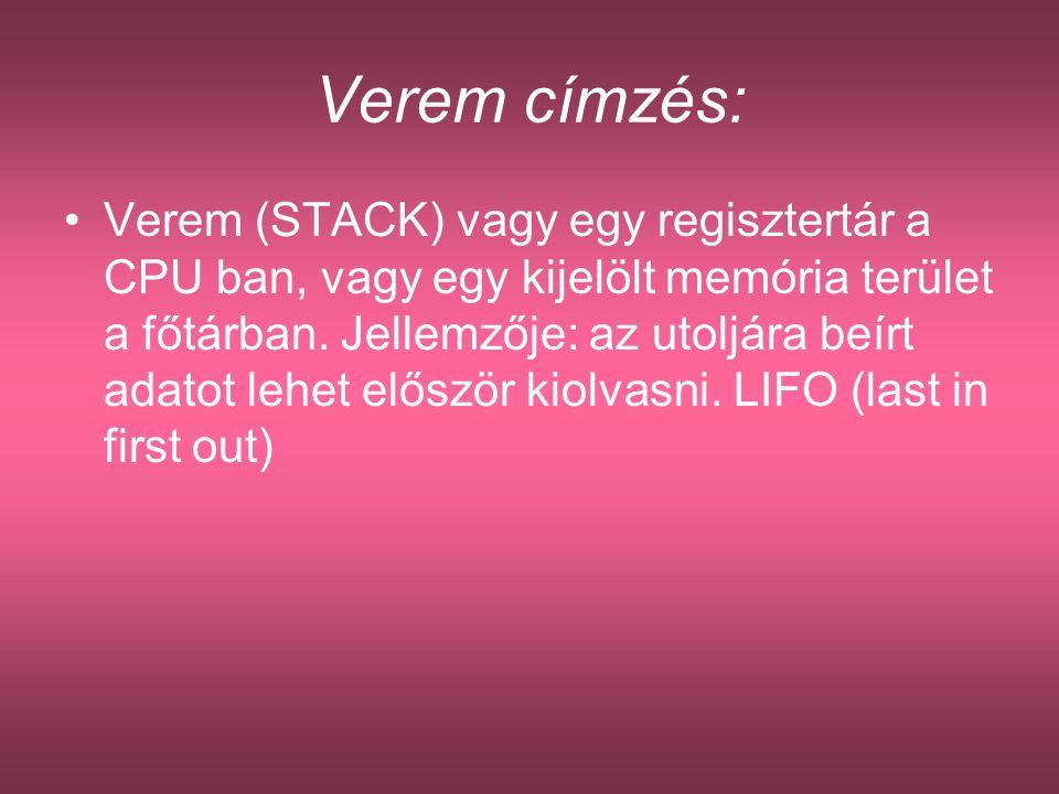 Verem címzés: Verem (STACK) vagy egy regisztertár a CPU ban, vagy egy kijelölt memória terület a főtárban. Jellemzője: az utoljára beírt adatot lehet