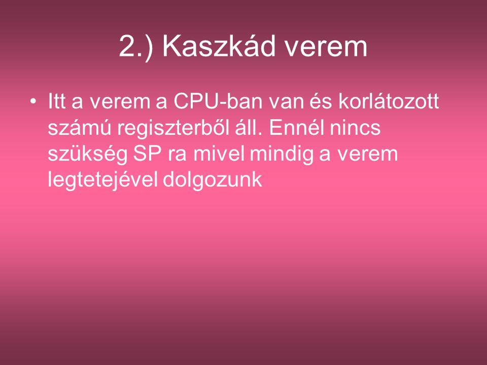 2.) Kaszkád verem Itt a verem a CPU-ban van és korlátozott számú regiszterből áll. Ennél nincs szükség SP ra mivel mindig a verem legtetejével dolgozu