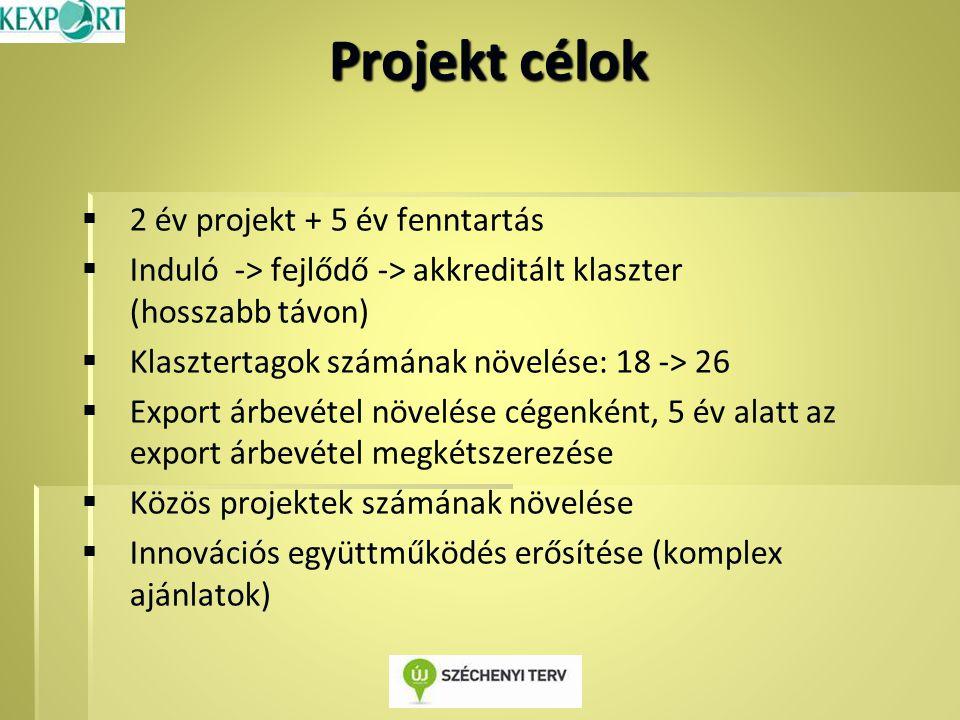 Projekt célok   2 év projekt + 5 év fenntartás   Induló -> fejlődő -> akkreditált klaszter (hosszabb távon)   Klasztertagok számának növelése: 18 -> 26   Export árbevétel növelése cégenként, 5 év alatt az export árbevétel megkétszerezése   Közös projektek számának növelése   Innovációs együttműködés erősítése (komplex ajánlatok)