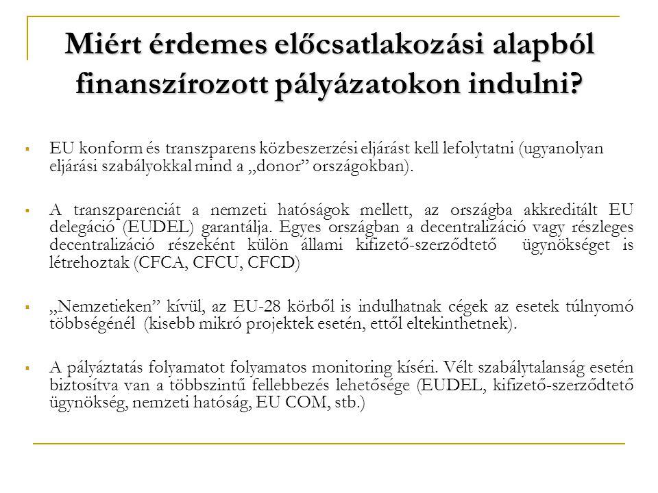 Miért érdemes előcsatlakozási alapból finanszírozott pályázatokon indulni?  EU konform és transzparens közbeszerzési eljárást kell lefolytatni (ugyan