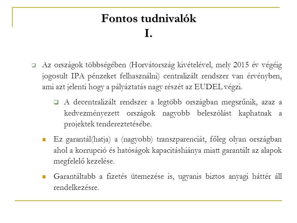 Fontos tudnivalók I.  Az országok többségében (Horvátország kivételével, mely 2015 év végéig jogosult IPA pénzeket felhasználni) centralizált rendsze
