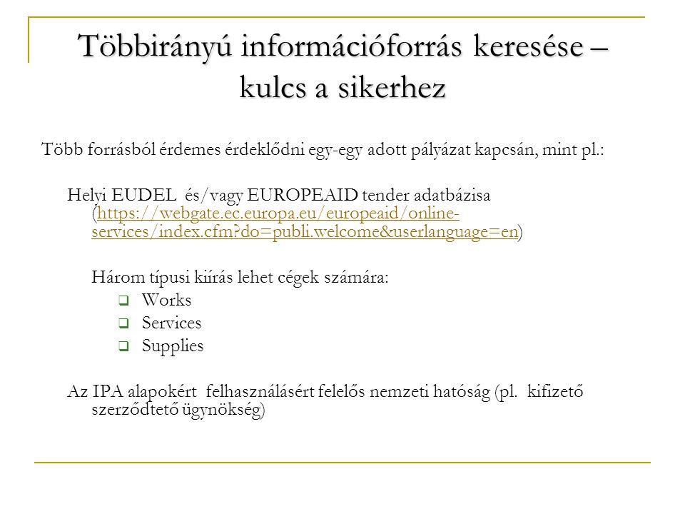 Többirányú információforrás keresése – kulcs a sikerhez Több forrásból érdemes érdeklődni egy-egy adott pályázat kapcsán, mint pl.: Helyi EUDEL és/vagy EUROPEAID tender adatbázisa (https://webgate.ec.europa.eu/europeaid/online- services/index.cfm do=publi.welcome&userlanguage=en)https://webgate.ec.europa.eu/europeaid/online- services/index.cfm do=publi.welcome&userlanguage=en Három típusi kiírás lehet cégek számára:  Works  Services  Supplies Az IPA alapokért felhasználásért felelős nemzeti hatóság (pl.