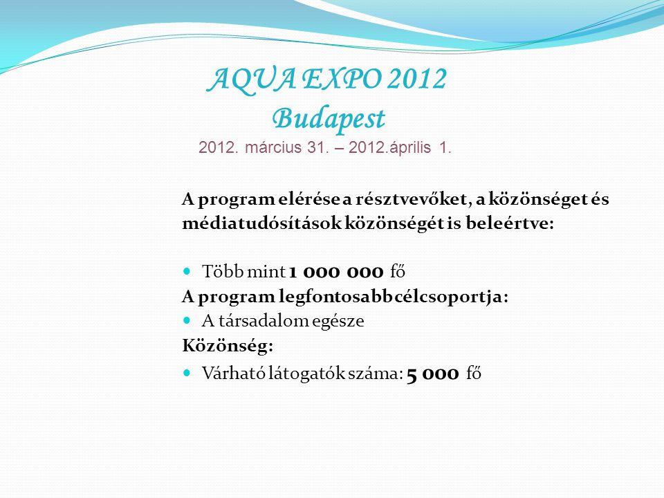 A program elérése a résztvevőket, a közönséget és médiatudósítások közönségét is beleértve: Több mint 1 000 000 fő A program legfontosabb célcsoportja: A társadalom egésze Közönség: Várható látogatók száma: 5 000 fő AQUA EXPO 2012 Budapest 2012.