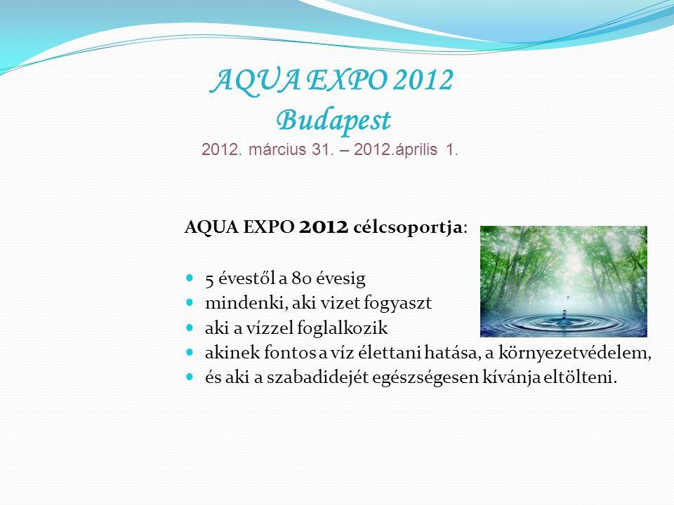 AQUA EXPO 2012 célcsoportja: 5 évestől a 80 évesig mindenki, aki vizet fogyaszt aki a vízzel foglalkozik akinek fontos a víz élettani hatása, a környezetvédelem, és aki a szabadidejét egészségesen kívánja eltölteni.