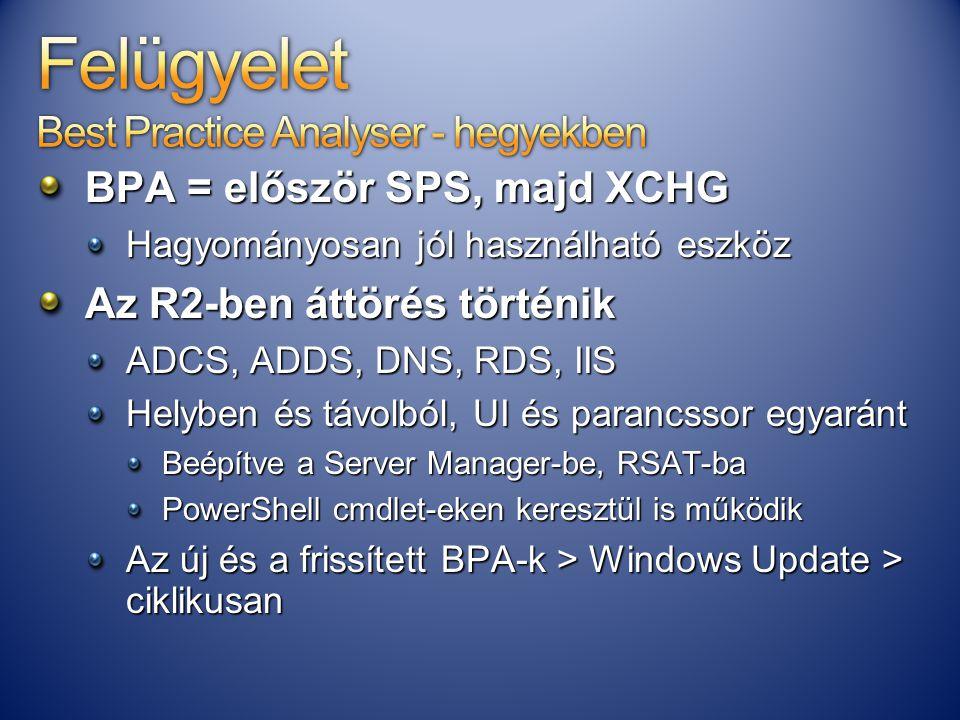 BPA = először SPS, majd XCHG Hagyományosan jól használható eszköz Az R2-ben áttörés történik ADCS, ADDS, DNS, RDS, IIS Helyben és távolból, UI és para