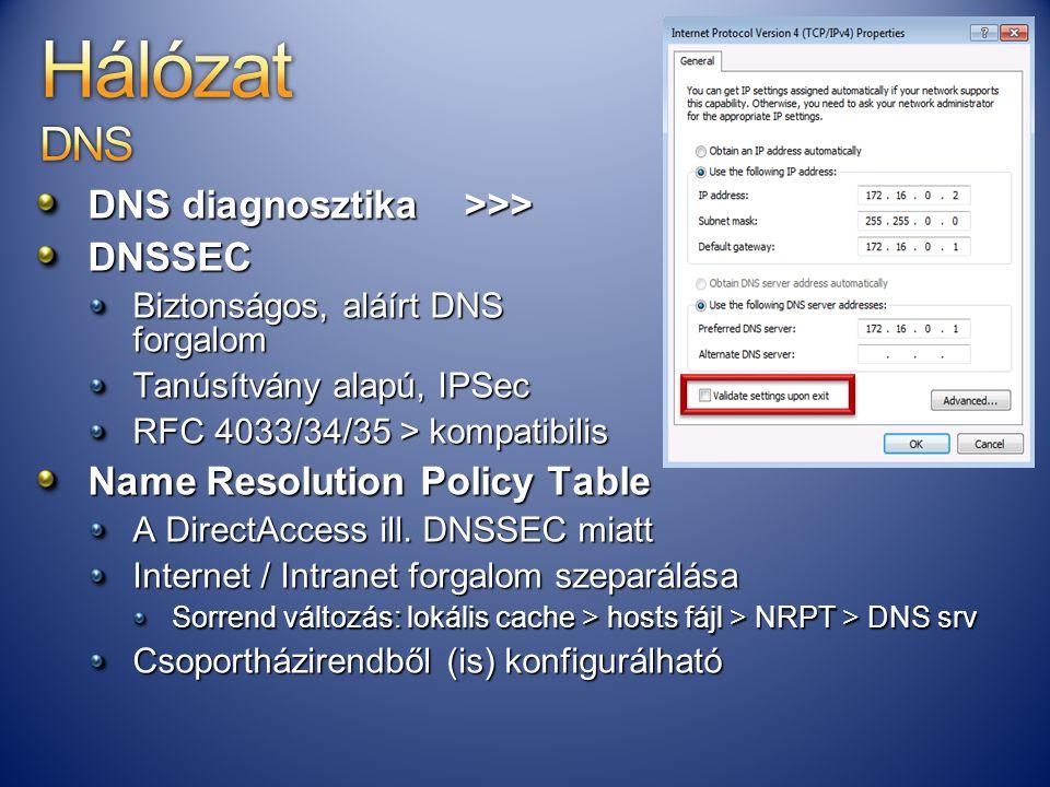 DNS diagnosztika >>> DNSSEC Biztonságos, aláírt DNS forgalom Tanúsítvány alapú, IPSec RFC 4033/34/35 > kompatibilis Name Resolution Policy Table A Dir