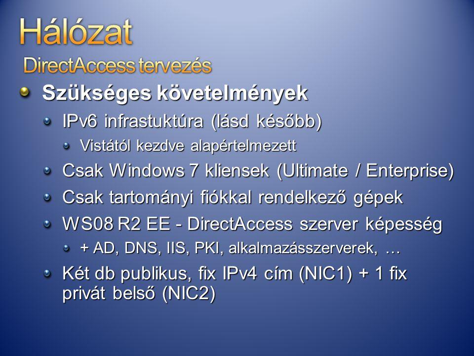 Szükséges követelmények IPv6 infrastuktúra (lásd később) Vistától kezdve alapértelmezett Csak Windows 7 kliensek (Ultimate / Enterprise) Csak tartomán
