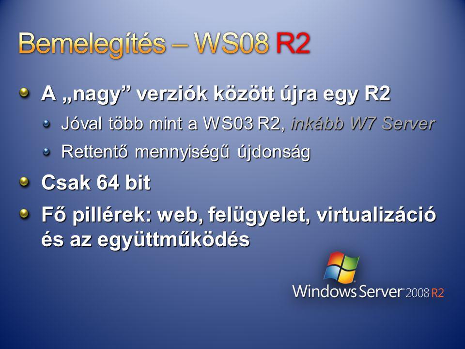 """A """"nagy"""" verziók között újra egy R2 Jóval több mint a WS03 R2, inkább W7 Server Rettentő mennyiségű újdonság Csak 64 bit Fő pillérek: web, felügyelet,"""