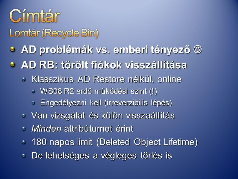 AD problémák vs. emberi tényező AD problémák vs. emberi tényező AD RB: törölt fiókok visszállítása Klasszikus AD Restore nélkül, online WS08 R2 erdő m