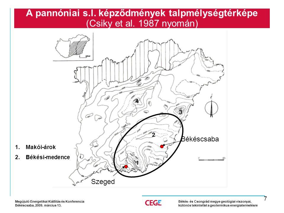 7 A pannóniai s.l. képződmények talpmélységtérképe (Csiky et al.
