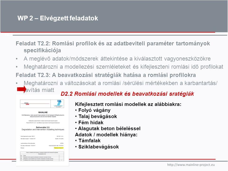 10 Feladat T2.2: Romlási profilok és az adatbeviteli paraméter tartományok specifikációja A meglévő adatok/módszerek áttekintése a kiválasztott vagyon
