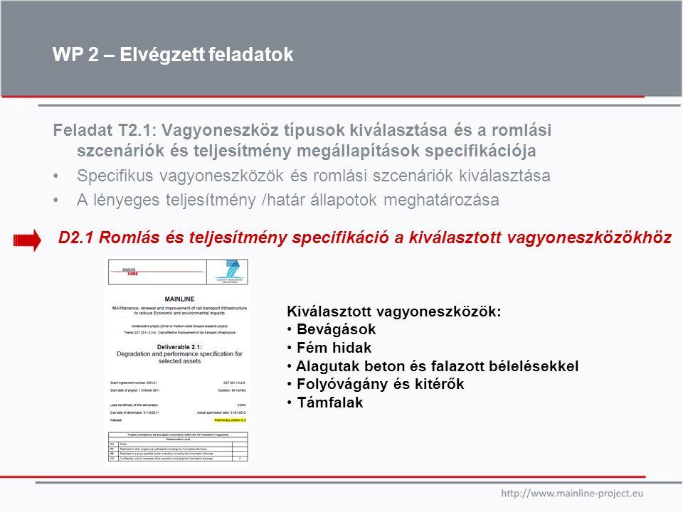 7 Feladat T2.1: Vagyoneszköz típusok kiválasztása és a romlási szcenáriók és teljesítmény megállapítások specifikációja Specifikus vagyoneszközök és r