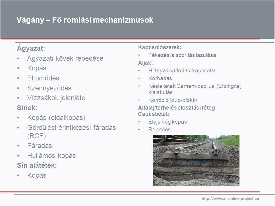 Vágány – Fő romlási mechanizmusok Ágyazat: Ágyazati kövek repedése Kopás Eltömődés Szennyeződés Vízzsákok jelenléte Sínek: Kopás (oldalkopás) Gördülés