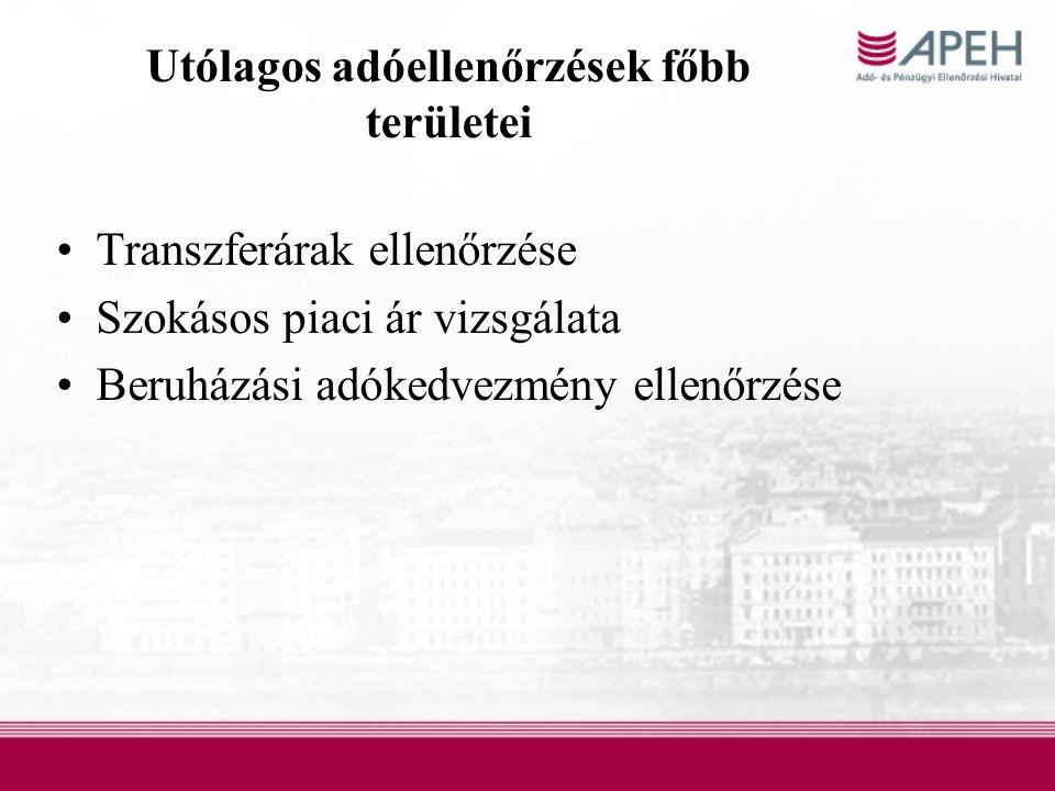 Utólagos adóellenőrzések főbb területei Transzferárak ellenőrzése Szokásos piaci ár vizsgálata Beruházási adókedvezmény ellenőrzése