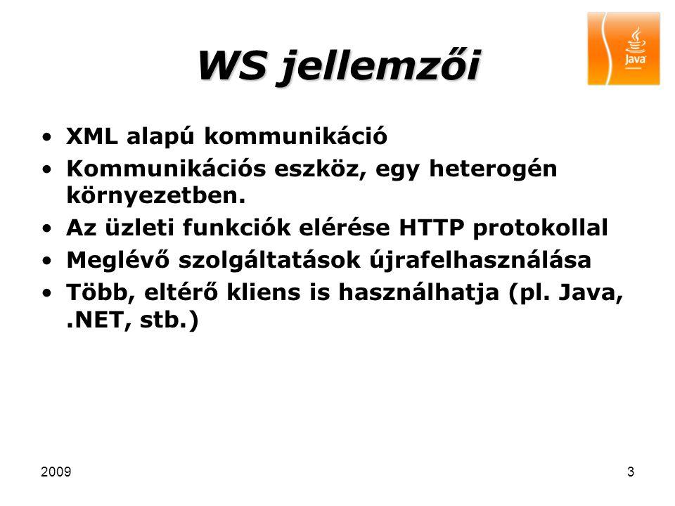 20093 WS jellemzői XML alapú kommunikáció Kommunikációs eszköz, egy heterogén környezetben. Az üzleti funkciók elérése HTTP protokollal Meglévő szolgá