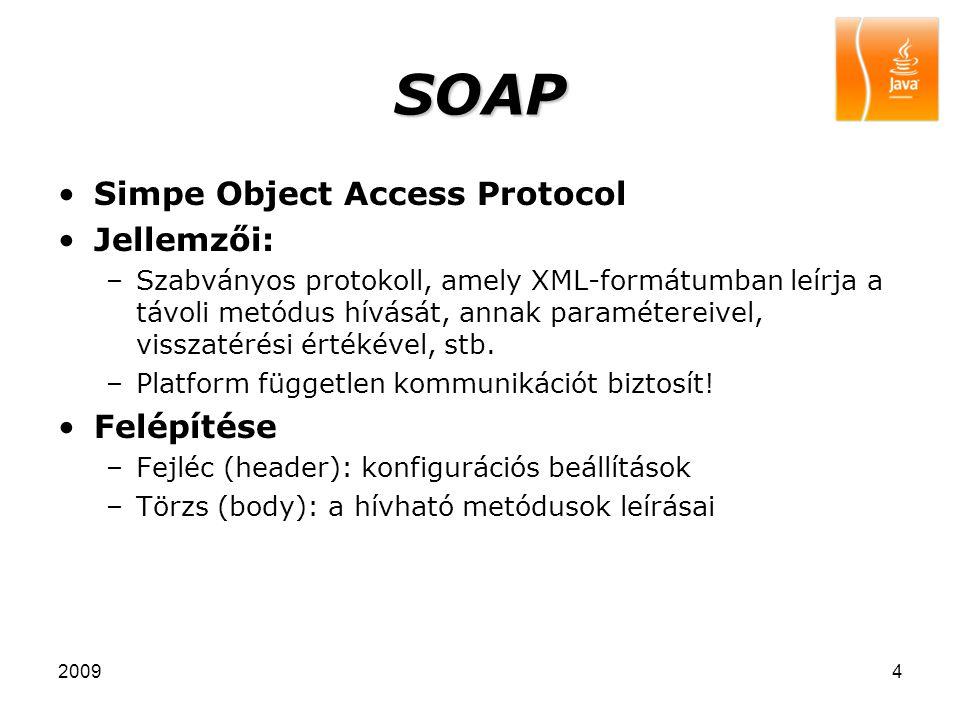 20094 SOAP Simpe Object Access Protocol Jellemzői: –Szabványos protokoll, amely XML-formátumban leírja a távoli metódus hívását, annak paramétereivel, visszatérési értékével, stb.