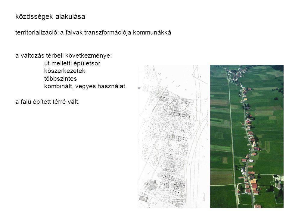 közösségek alakulása territorializáció: a falvak transzformációja kommunákká a változás térbeli következménye: út melletti épületsor kőszerkezetek töb