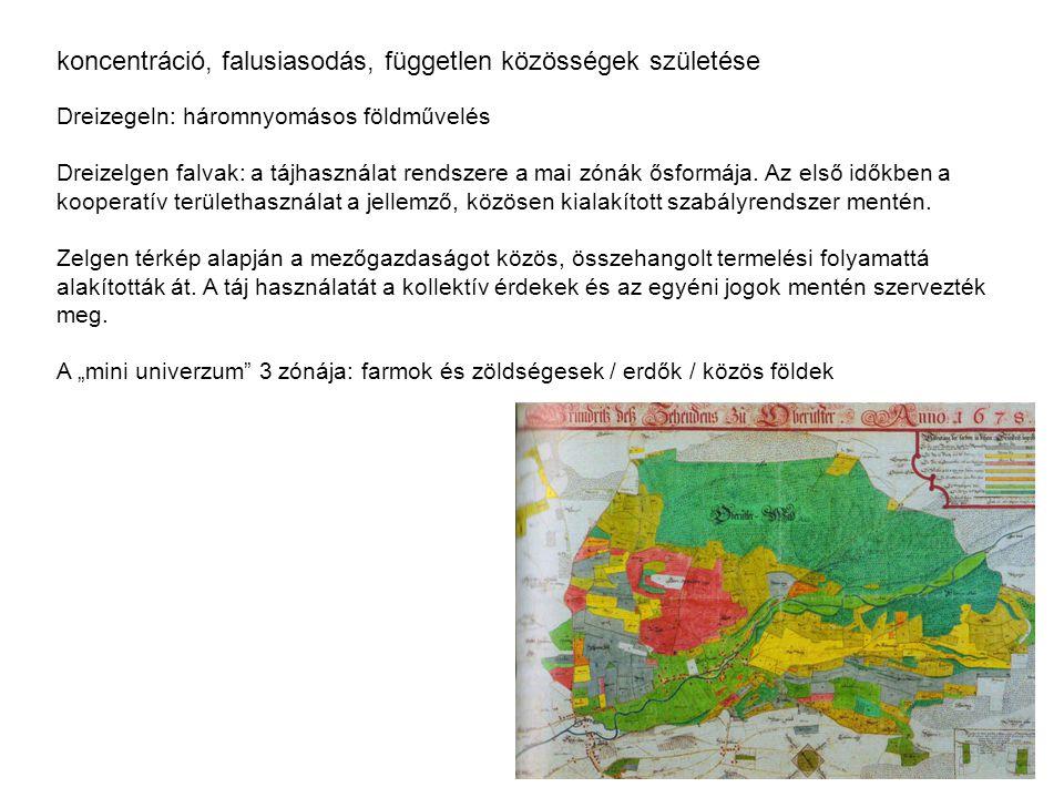 koncentráció, falusiasodás, független közösségek születése Dreizegeln: háromnyomásos földművelés Dreizelgen falvak: a tájhasználat rendszere a mai zón