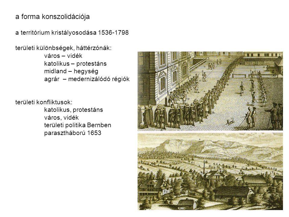 a forma konszolidációja a territórium kristályosodása 1536-1798 területi különbségek, háttérzónák: város – vidék katolikus – protestáns midland – hegy