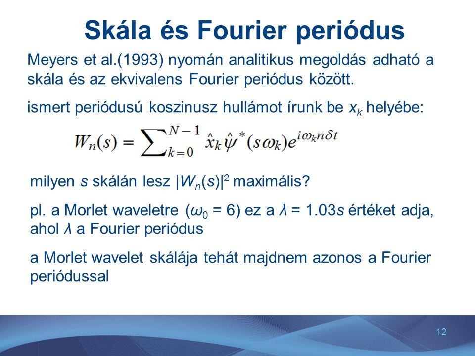 12 Skála és Fourier periódus Meyers et al.(1993) nyomán analitikus megoldás adható a skála és az ekvivalens Fourier periódus között. ismert periódusú