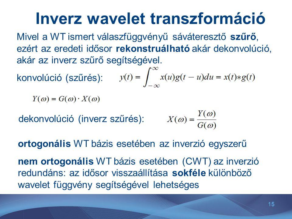 15 Inverz wavelet transzformáció Mivel a WT ismert válaszfüggvényű sáváteresztő szűrő, ezért az eredeti idősor rekonstruálható akár dekonvolúció, akár