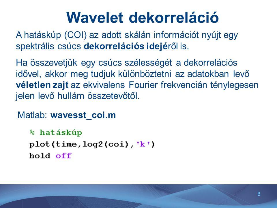 8 Wavelet dekorreláció A hatáskúp (COI) az adott skálán információt nyújt egy spektrális csúcs dekorrelációs idejéről is. Ha összevetjük egy csúcs szé