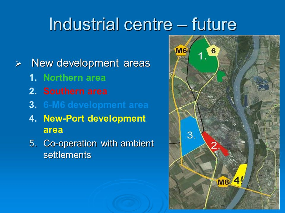 Industrial centre – future  New development areas 1.