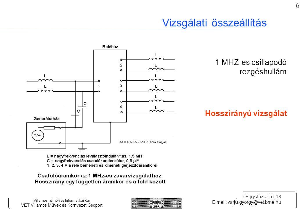 6 Budapesti Műszaki és Gazdaságtudományi Egyetem Villamosmérnöki és Informatikai Kar VET Villamos Művek és Környezet Csoport 1111.
